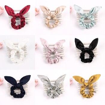 Cute Rabbit Ears Hair Scrunchie Bunny Ears Hair Bow Tie Elastic Girls/Women Ponytail Holder Hair Accessories цена 2017
