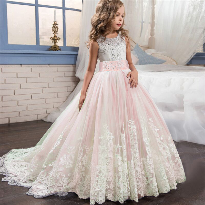 Lace Elegant Flower Girl Dress Tulle Beading Appliqued Pageant Dresses For Girls First Communion Dresses New Year Train Dresses 3