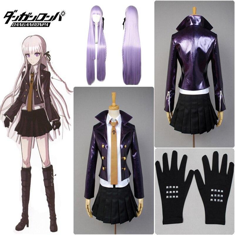 Anime Danganronpa Kirigiri Kyouko Cosplay Costume Dangan-Ronpa Trigger Happy Havoc Uniform (Jacket + Shirt + Skirt + Tie)