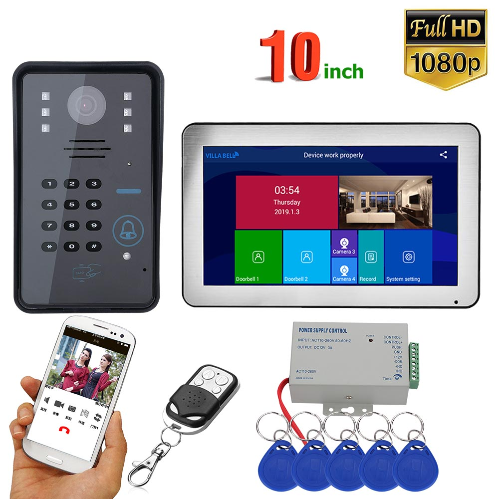 GAMWTER 10 Inch  Wifi Wireless RFID  Video Door Phone Doorbell Intercom System With Wired 1080P   Camera