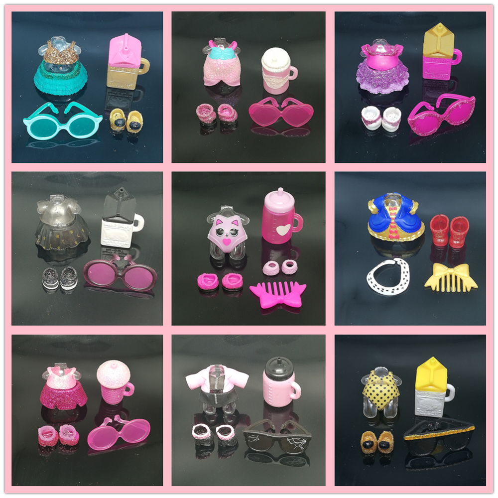 1 Set Doll Accessories Original Clothes For LOLs 8cm Baby Sister Doll Dress Shoes Bottle Glasses Comb Girls Kids DIY Toys Gifts