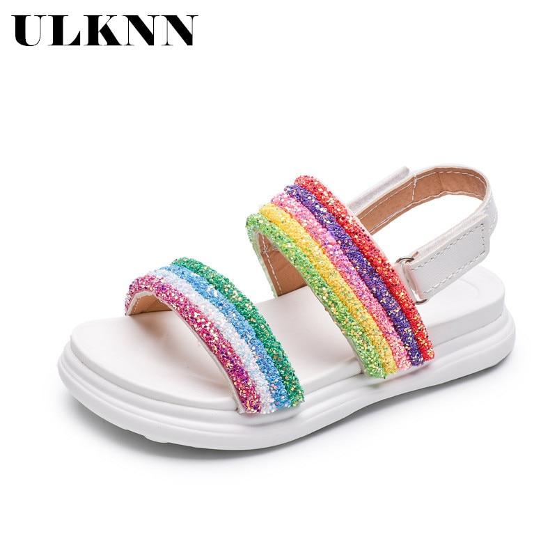 ULKNN Girls Sandals 2020 New Summer Children Girl Fashion Rainbow Shoes Soft Bottom Non-slip Sandals Pupils