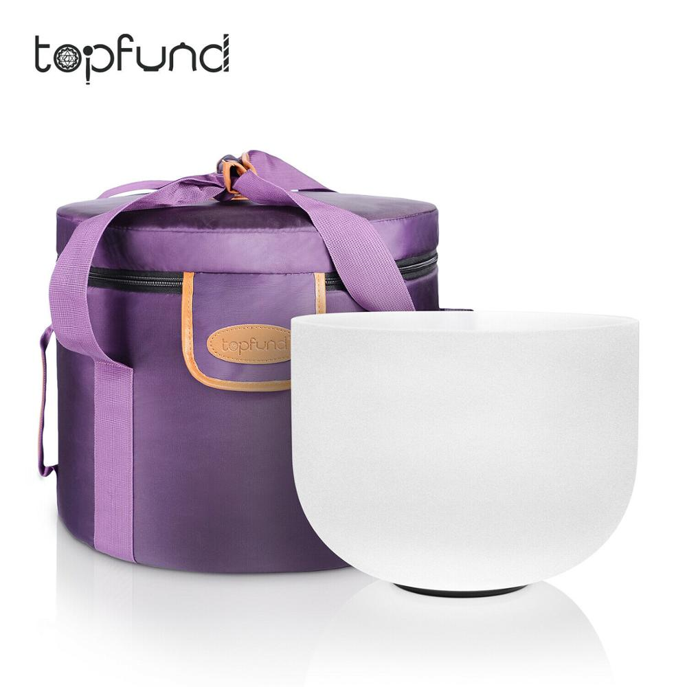 TOPFUND 432Hz Tuned F Heart Chakra Frosted Quartz Crystal Singing Bowl 8''