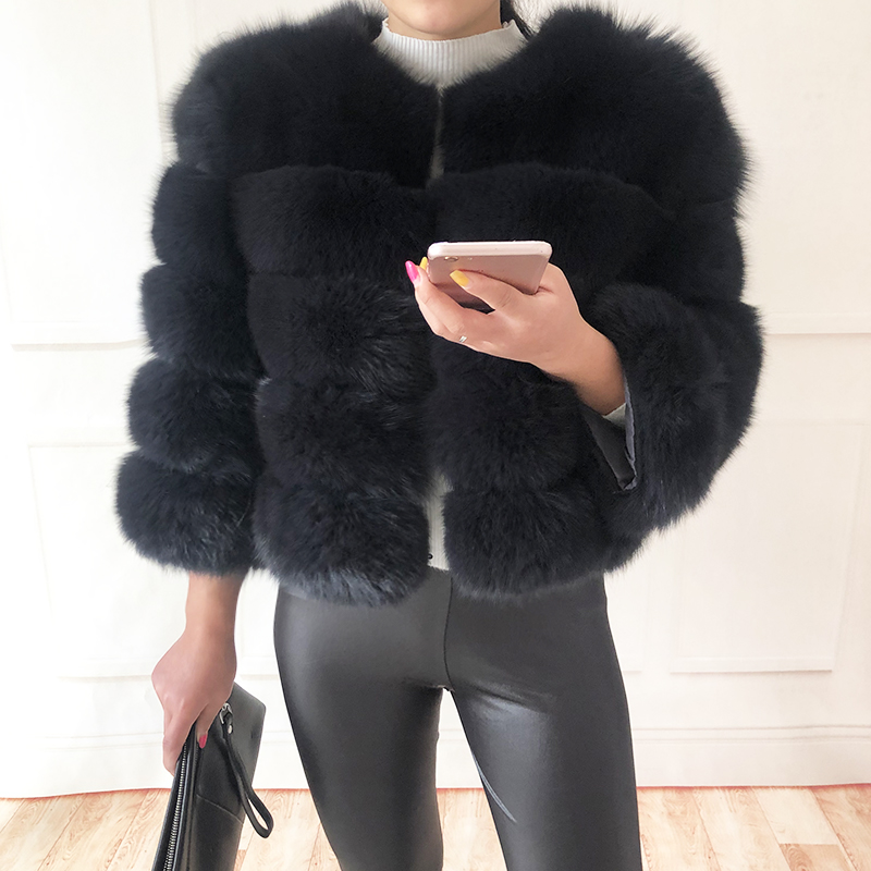 2019 new style real fur coat 100% natural fur jacket female winter warm leather fox fur coat high quality fur vest Free shipping 159