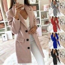 Женские модные блейзеры, пальто, Осень-зима, теплые длинные блейзеры, повседневные, длинный рукав, отложной воротник, верхняя одежда Fenale Blends