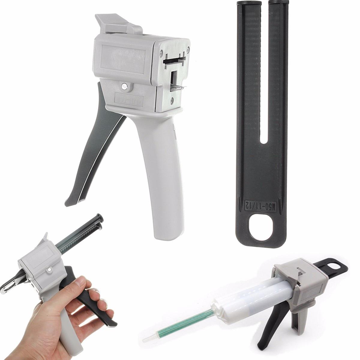 GlueGun 50ml Two Component AB Epoxy Sealant GlueGun Applicator Glue Adhensive Squeeze Mixed 1:1 Manual CaulkingGun Dispenser