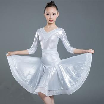 Latin Dance Dress Girls White Mid Sleeve Kids Rumba Cha Cha Samba Salsa Dancing Children Competition Performance Wear DN3886