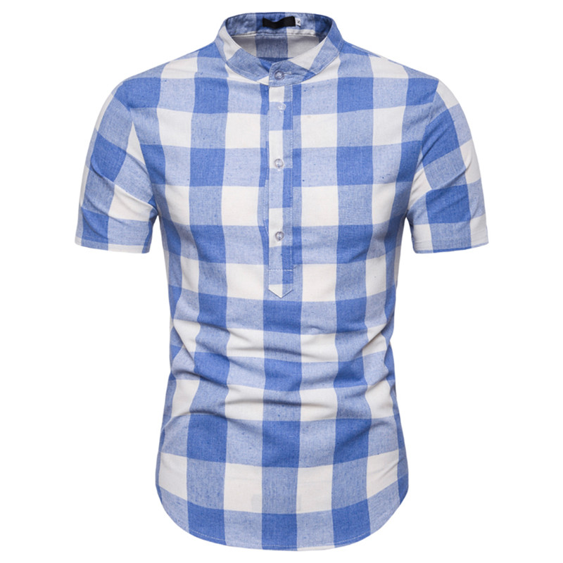 Fashion Mens Shirts Short Sleeve Summer Clothing Stand Collar Plaid Casual Slim Fit Pullover Striped Shirts Plus Size For Male
