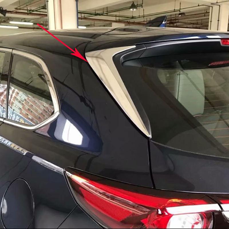For <font><b>Mazda</b></font> CX-9 <font><b>CX9</b></font> 2016 <font><b>2017</b></font> 2018 ABS Chrome Exterior Accessories Rear Window Side Triangle Decoration Cover Trim Styling 2PCS image
