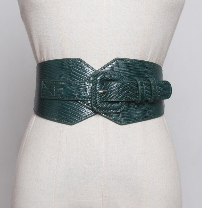 Women's Runway Fashion Elastic Pu Leather Cummerbunds Female Dress Corsets Waistband Belts Decoration Wide Belt R1995