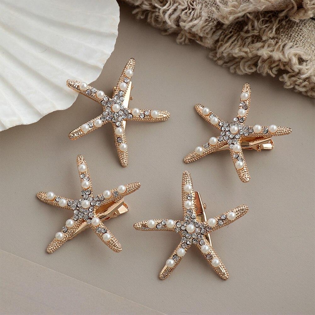 Fashion Rhinestone Pearl Starfish Hairpin Barrettes For Women Girls Hair Clips Bridal Headpiece Summer Beach Hair Styling Tool
