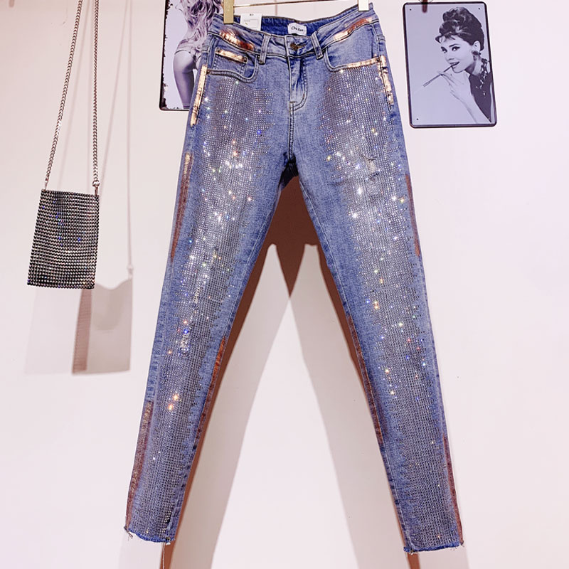 Hot Drilling Skinny Jeans Bronze Man-made Diamond With Holes High Waist Pencil Pants Women New Harajuku Style Jeans Jean Pants
