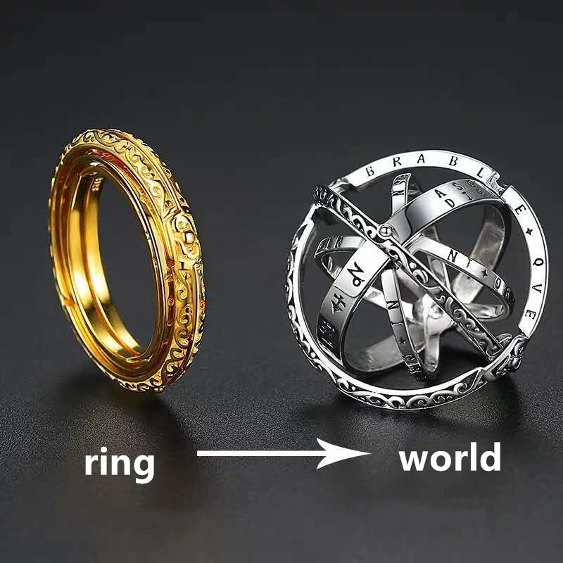 Deformation Astronomical Ball Ring Couple Ring German Retro Astronomical Ball Ring Creative Multilayer Rotation