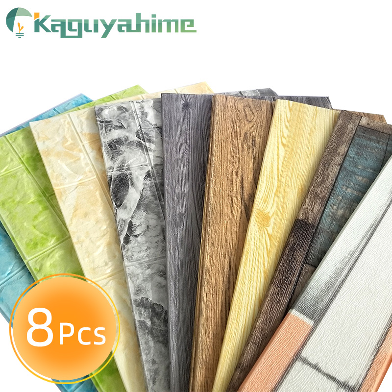 Kaguyahime 8Pcs DIY Wallpaper Self-Adhesive Wall Stickers Decor Waterproof For Kids Room Kitchen Bedroom Marble Wallpaper Brick