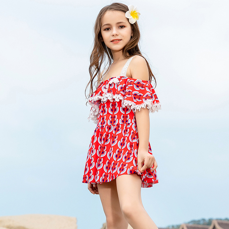 2019 New Style Hot Sales KID'S Swimwear Dress-Flounced Retro Decorative Pattern Triangular Little Princess GIRL'S Swimsuit