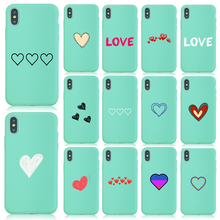 цена на Phone Case For iphone xr For iphone 11 case 8 7 6 case Silicone Cute Heart Mint Green Cover Rubber lip Shock-Absorbing Bag