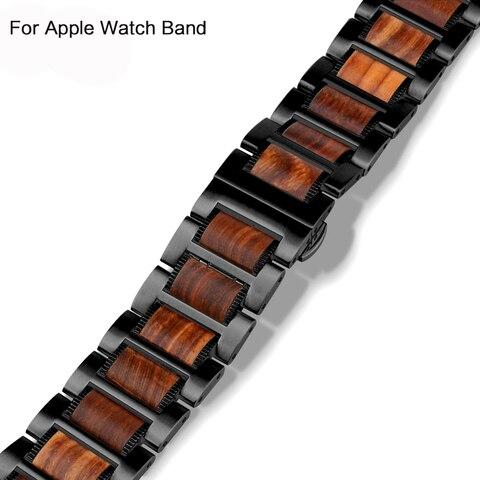 Pulseira para Apple Sândalo + Aço Banda Iver Series4 3 2 42mm 38 mm Natural Vermelho Inoxidável Correa Pulseira Ver 4 44mm 40mm