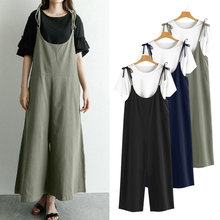 2020 ZANZEA Women Vintage Jumpsuits Wide Leg Pants Fashion Sleeveless Casual Loose Trousers Playsuit Plus Size Overalls Romper 7(China)
