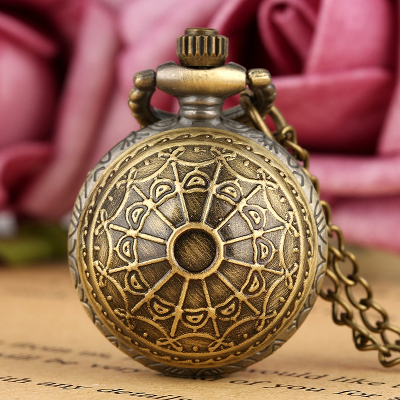 Vintage Cute Bronze Small Size Spider Web Ball Necklace Sweater Pendant Quartz Pocket Watch Chain Women Lady Boys Kids Top Gifts
