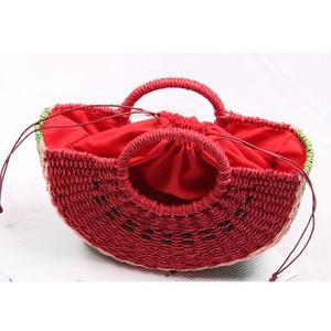 Image 4 - Seaside vacation beach straw bag female portable cute watermelon bag new fashion hand woven bag