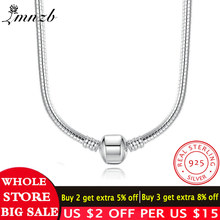 Big Promotion! Fine Jewelry Original 925 Solid Silver 3mm Snake Necklace Fit Pendants Beads Charms Chain Compatible DIY Jewelry(China)