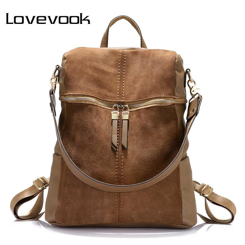 LOVEVOOK wanita ransel sekolah ransel untuk gadis remaja kapasitas besar tas bahu untuk wanita 2020 vintage nubuck kulit PU
