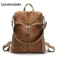LOVEVOOK women backpack school backpacks for teenage girls large capacity shoulder bags for women 2020 vintage nubuck leather PU