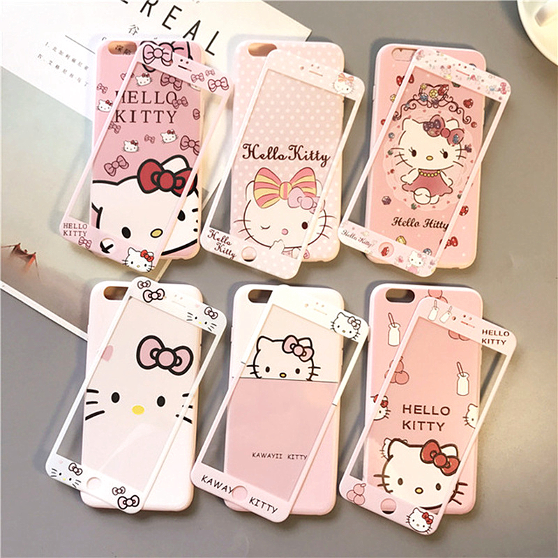 360 Full Cute Cartoon Kitty Cat Soft Back Cover For iPhone XR Caase XS Max X 8 7 6 6s Plus Phone Case+Tempered Glass Front Film