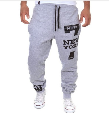 18 Fashion-7 Words Harem Athletic Pants Men's Printed Letter Casual Pants Closing Athletic Pants Xg13k03