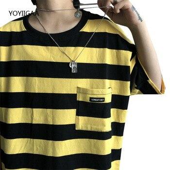 T Shirt Women Striped T-shirt O-Neck Short Sleeve Female Tshirt Summer Harajuku Ladies Girls Tee Tops Casual Tshirts Female cutout neck bell sleeve striped tee