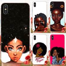 African Beauty Afro Puffs Black Girl Back Covers Slim For Xiaomi Redmi Mi 4 7A 9T K20 CC9 CC9e Note 7 9 Y3 SE Pro Prime Go Play(China)