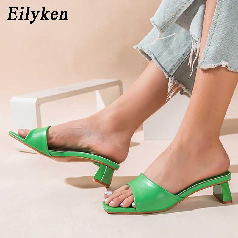 Eilyken yaz kadın terlik slaytlar burnu açık düşük yüksek topuklu ayakkabı sandalet kadın eğlence plaj yeşil beyaz Flip flop boyutu 41 42