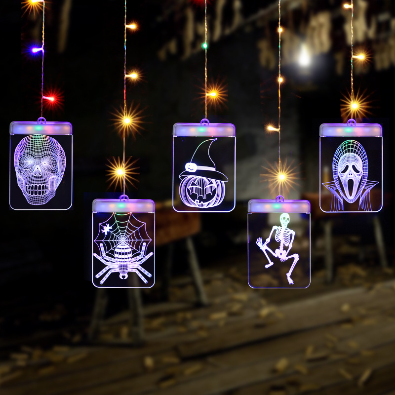 1.5M*0.7M 3D Halloween Cutrain Lights Terror Ghost LED String Light Hanging Wall Lamp For Halloween Party Decoration