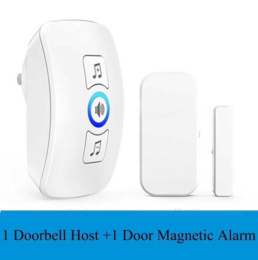 Smart Remote Wireless Plug-in Wall-mounted Doorbell Door Magnetic Alarm For Home Security Waterproof Electronic Doorbell Button