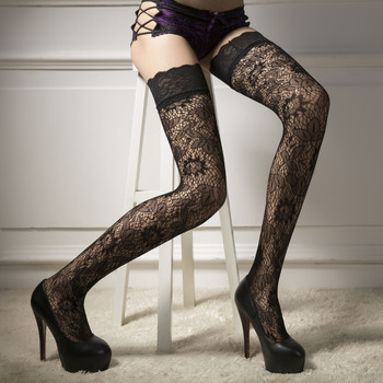 Womens Sheer Lace Top Stay Up Thigh-High Hold-ups Stockings Pantyhose Black Net Tights Elastic