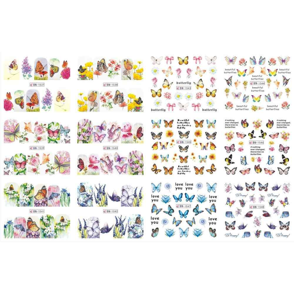 Uprettego 12 Packs/Lot Nail Art Schoonheid Water Decal Slider Nail Sticker Bloemen Vlinder Bloem Gras Sets BN1537-1548