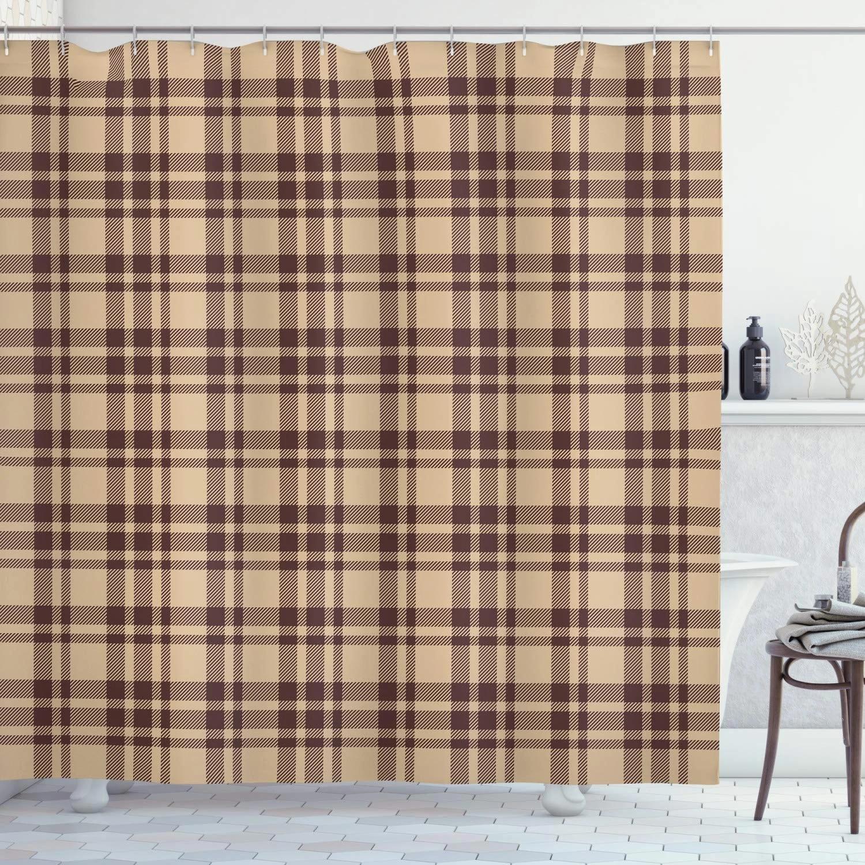 tan and brown shower curtain old fashioned check plaid pattern scottish tartan inspired geometric design cloth fabric bathroom