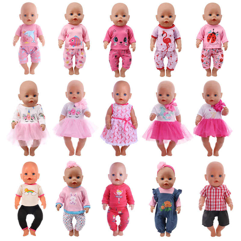 Doll Clothes 15 Styles T-Shirt+Skirt/Pants Unicorn Dress Fit 18 Inch American Doll&43 Cm Baby Doll For Our Generation Girl`s Toy