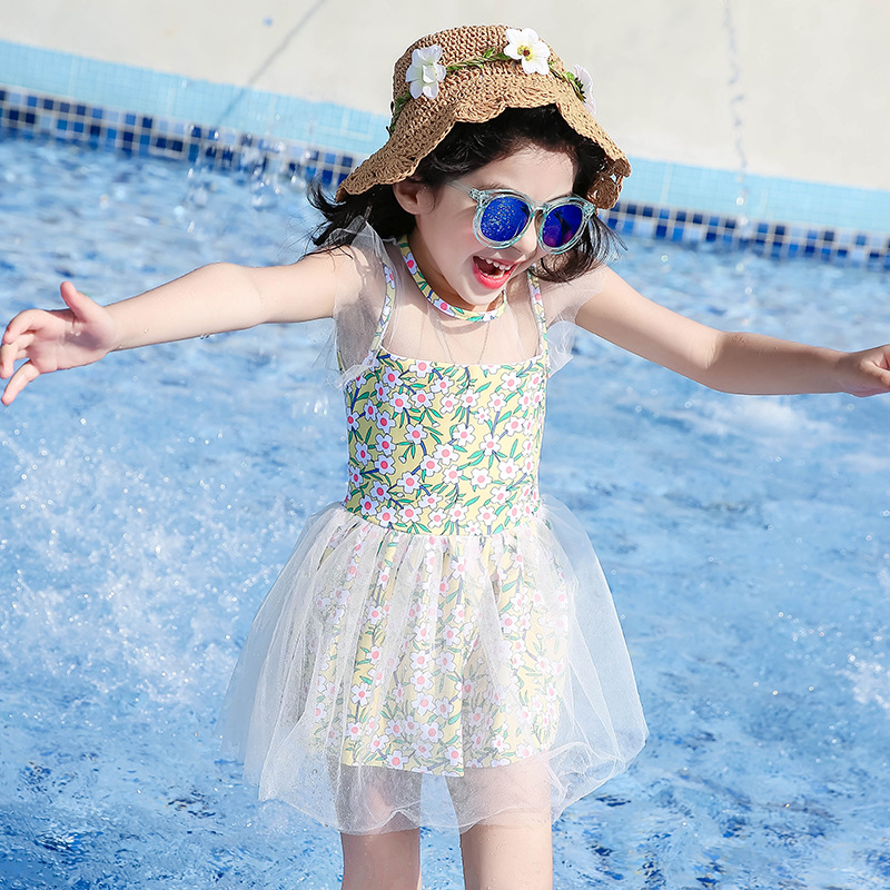 KID'S Swimwear GIRL'S Big Boy Princess Sun-resistant Dress-Baby Korean-style Girls Bubble Hot Spring Swimming Suit