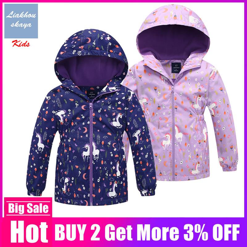 2019 Brand New Unicorn Jacket For Girls Coat Polar Fleece Windbreakers Teenage Outerwear Korean Clothes For 3-12 Y Spring Autumn