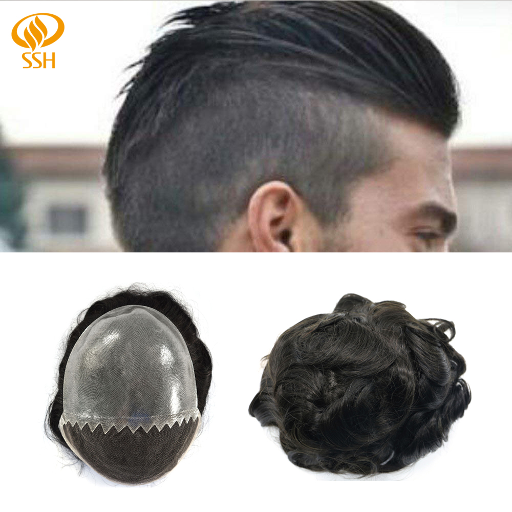 SSH Remy Hair French Lace Front Mens Toupee Poly Hairpiece Indian Hair Replacement Skin System