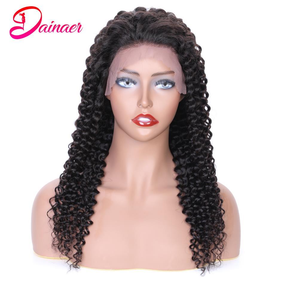 Brasileiro 4x4 perucas de fechamento do laço remy profunda peruca encaracolado pré arrancado 13x4 frente do laço peruca do cabelo humano profundo encaracolado perucas do laço cabelo dainaer