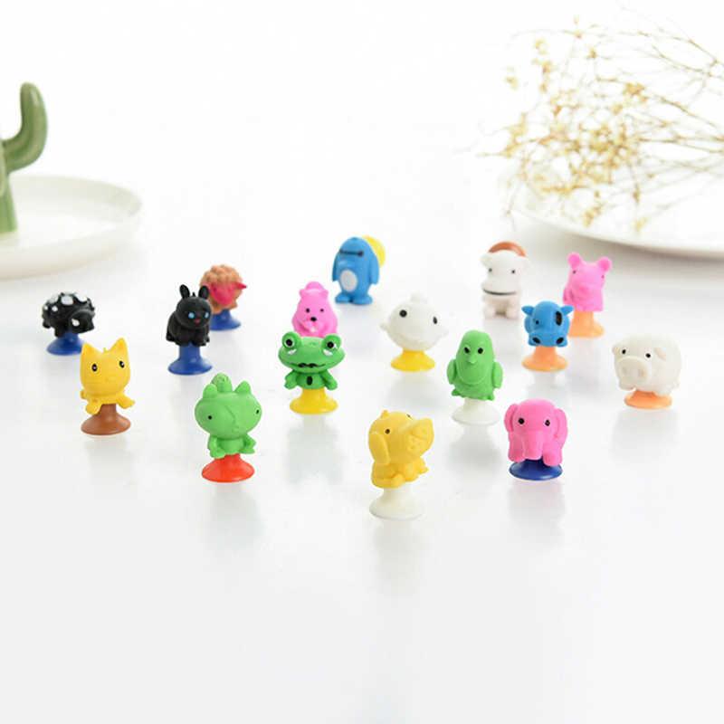 2 pçs/lote pouco anime dos desenhos animados figuras de ação animal ventosa brinquedos para crianças mini monstro otário cápsula modelo
