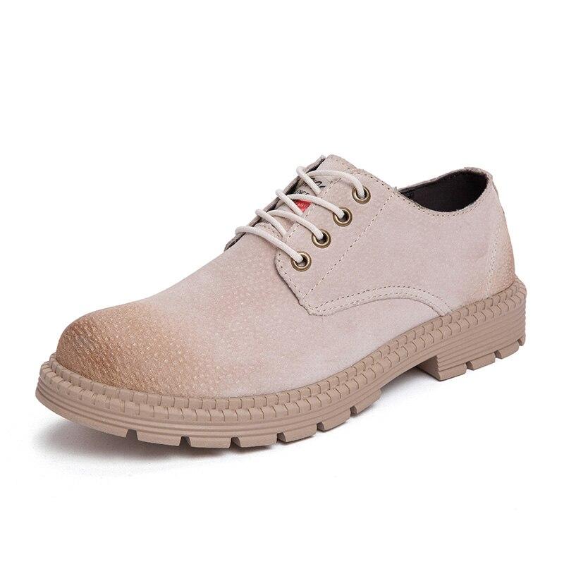 Зимние ботинки повседневная обувь из флока Мужская модная весенняя Мужская обувь удобная летняя мужская обувь на плоской подошве, большие размеры 38-47% 7118 - Цвет: Sand-colour