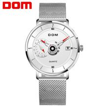 DOM Brand Luxury Silver Male Watch Quartz Creative Wrist Watch