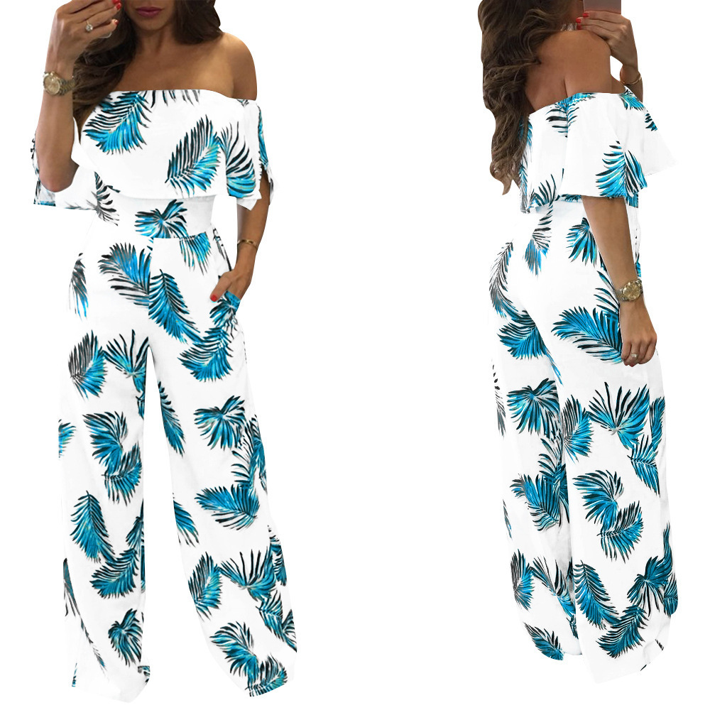 Casual New Style Jumpsuit Women''s Printed Word Collar Loose casual Sleeveless Women''s Jumpsuit Summer Sexy Comfortable Jumpsuit