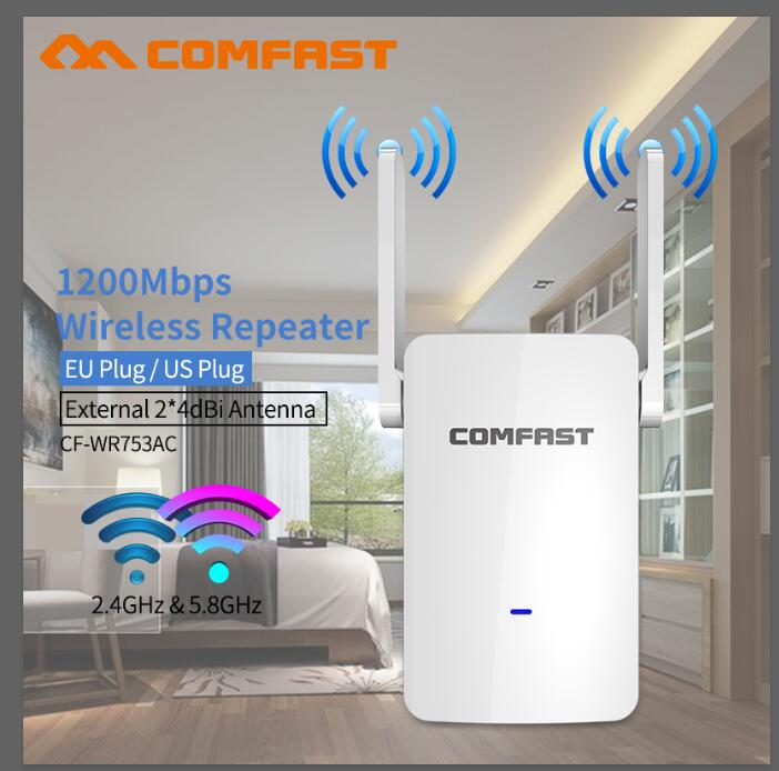 1200Mbps Powerful Dual Band 2.4+5Ghz Wireless Wifi Router High Speed Wifi Repeater Wifi Extender Long Range Wi-fi Amplifier