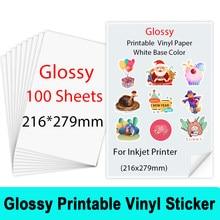 Papier autocollant en vinyle imprimable brillant, 100x216mm, papier auto-adhésif imperméable pour imprimante à jet d'encre, artisanat de bricolage, 279 feuilles