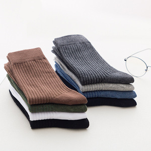 Image 2 - 10 Pairs New Autumn Winter Mens Socks Cotton Casual Socks Mens Vertical stripes Solid Color Male Socks High Quality
