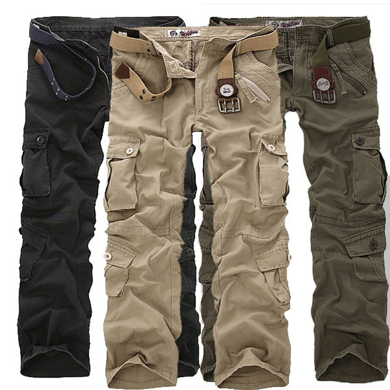 Men Fashion Military Long Cargo Overall Pants Casual Loose Pockets Work Trousers Plus Size Linen Sweatpants Plus Size Bottoms 7